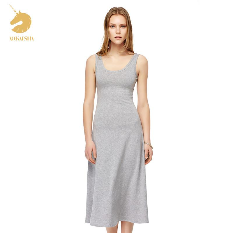 New Summer Sytle Fashion O-Neck Dress Women Casual Long Dress Cotton Tall Waist Maxi Dress Free Shipping H16032-Dress-SheSimplyShops