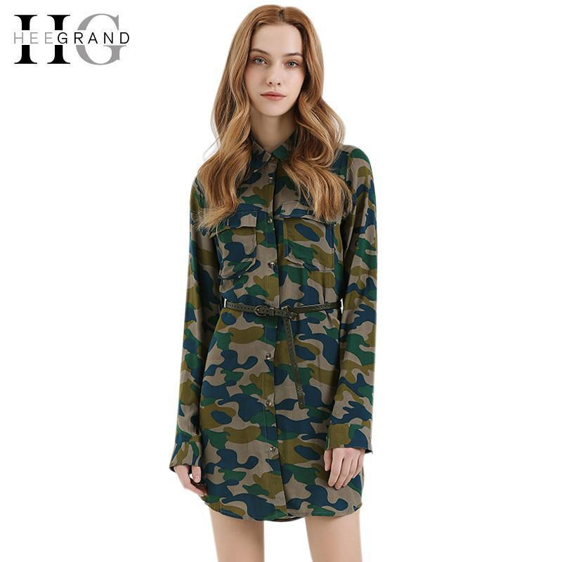 Spring Summer Camouflage Long Woman Blouse Casual Women Shirts Turn-Down Collar Blusas Without Belt LCL1209-Blouse-SheSimplyShops