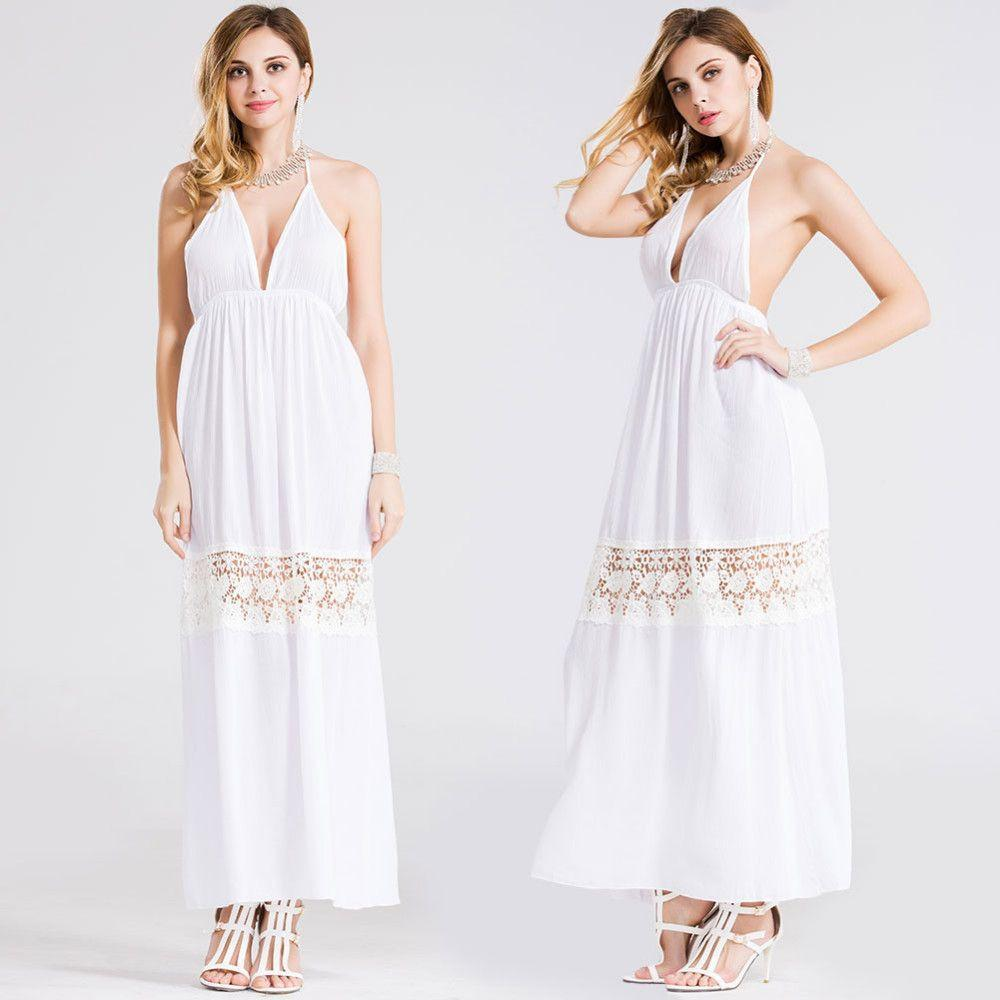 Deep V Sexy Solid Women Hollow Out Lace Patchwork Maxi Dress Summer Bandage Backless Beach Party Dress Female Vestidos Plus Size-Dress-SheSimplyShops