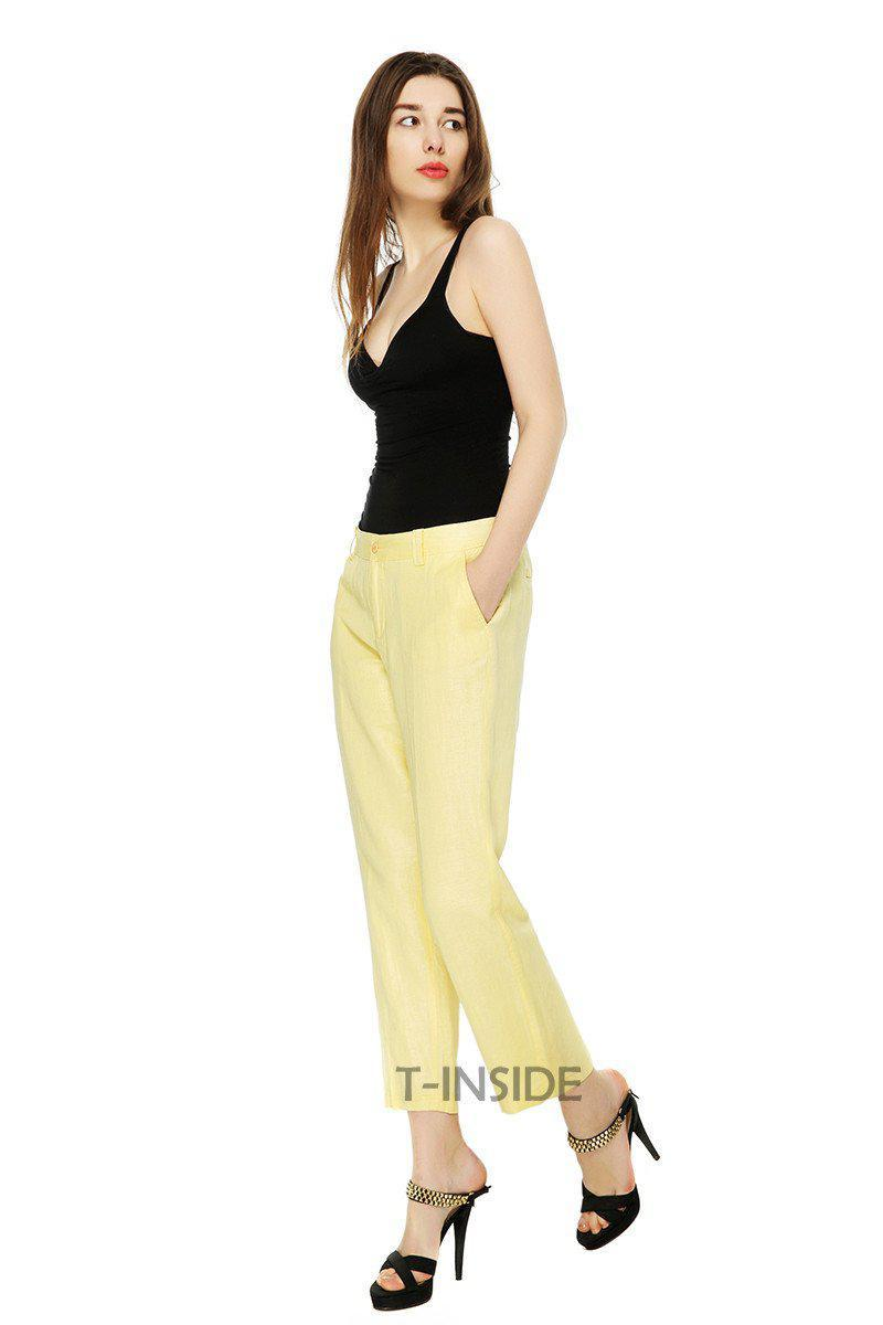 T-Inside Summer Women's Casual Mid Waist Straight Pants Trousers Daily Wear with Pocket Ankle Length High Quality-PANTS-SheSimplyShops