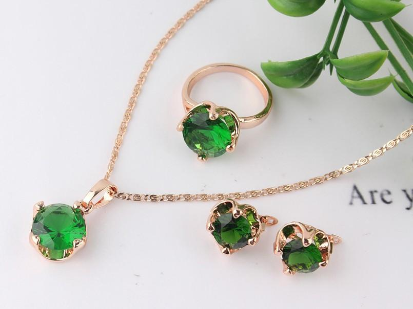 14K Rose Gold Filled 4 Colors Sapphire necklace earrings ring jewelry set-EARRINGS-SheSimplyShops