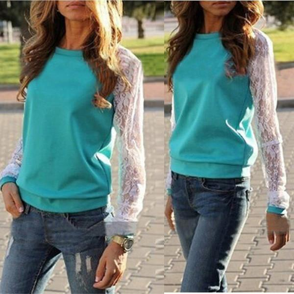 Women Shirt Blouse Lace Floral Crochet Patchwork Long Sleeve Loose Tee Shirt Top Pullover Casual-Blouse-SheSimplyShops