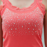 Summer Hot Selling Women Casual Tank Top Korean Style Sexy Bling Rhinestone Lace Solid Slim Soft Tops Colete-Tops-SheSimplyShops