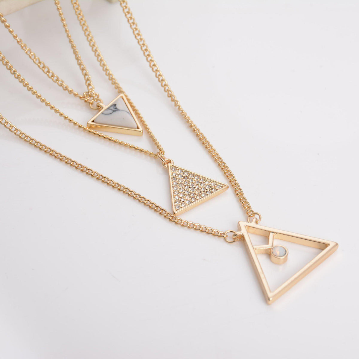 NewTrendy Design Multi Layer Triangle Turquoise Faux Marble Stone Pendant Necklaces Jewelry Rhinestone Women Neckalce Gift-NECKLACES-SheSimplyShops