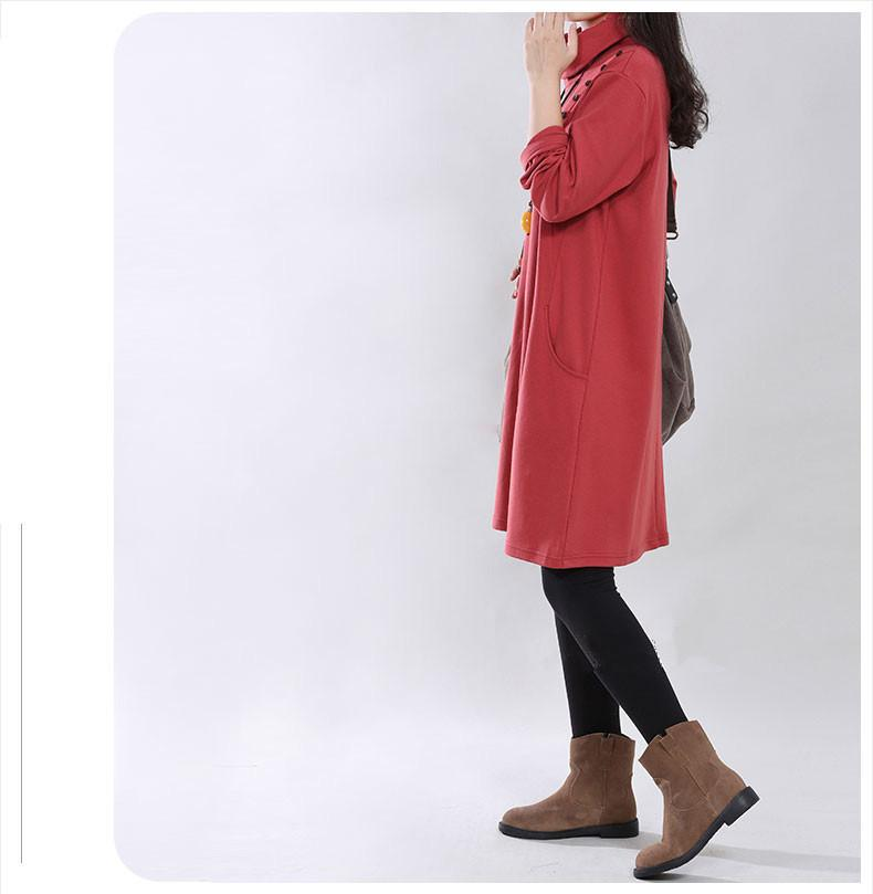 women clothing loose style quality turtleneck dresss for winter and spring dress-Dress-SheSimplyShops