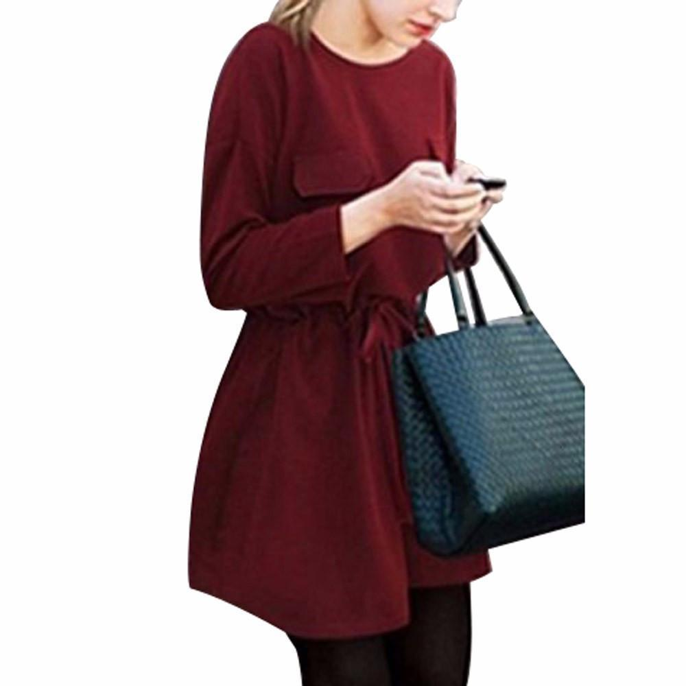 New Women Winter Dress robe vestido de festa 2016 Plus Size Solid Casual Pocket Loose Dress Party Bandage Bodycon Dress-Dress-SheSimplyShops