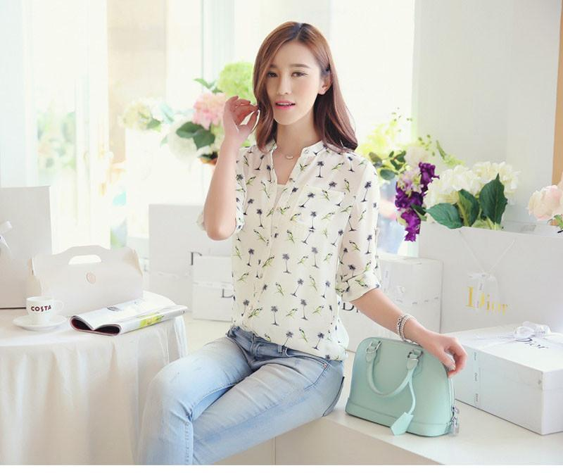 Fashion Women Spring Casual Clothing Long Sleeve Chiffon Print Shirt Slim Top Blouses Plus Size-Blouse-SheSimplyShops