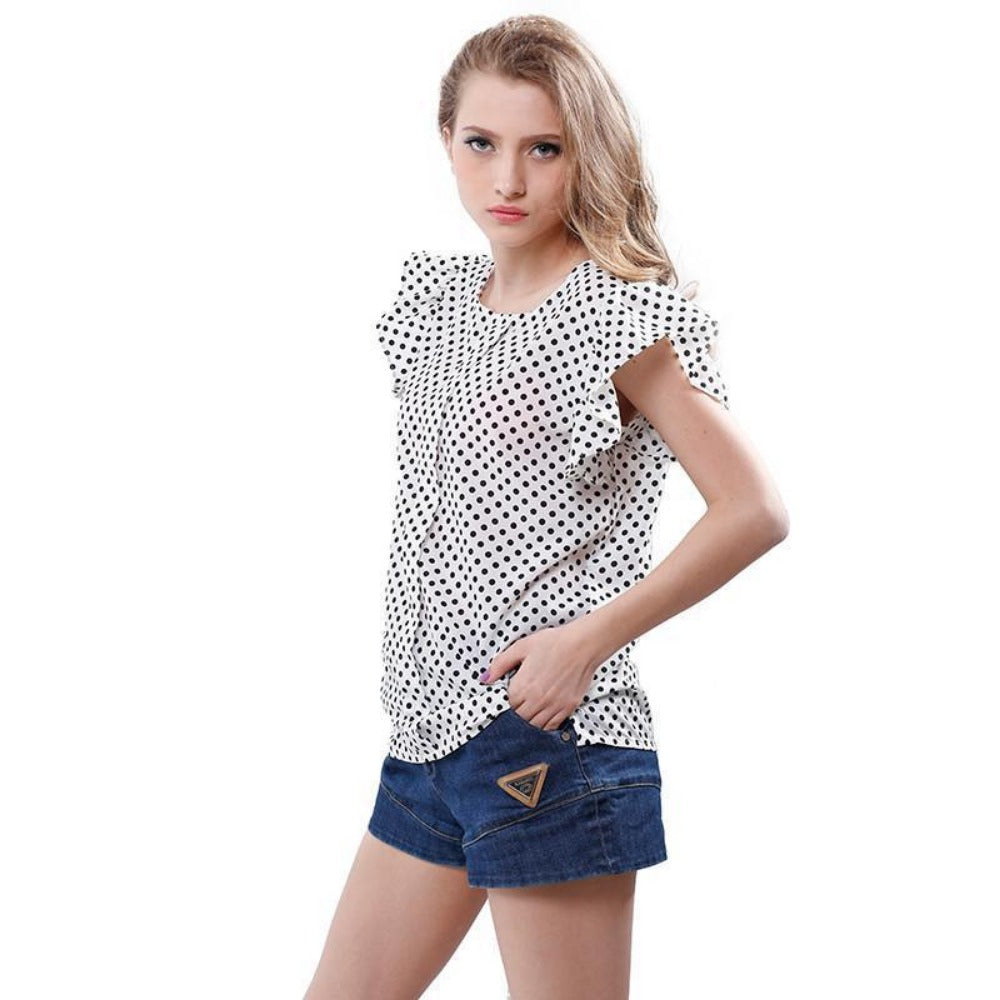 Summer Women Blouses New Plus Size Print shirts Casual Women Top Ruffles Sleeve Polka Dot Blouses For Women-Blouse-SheSimplyShops