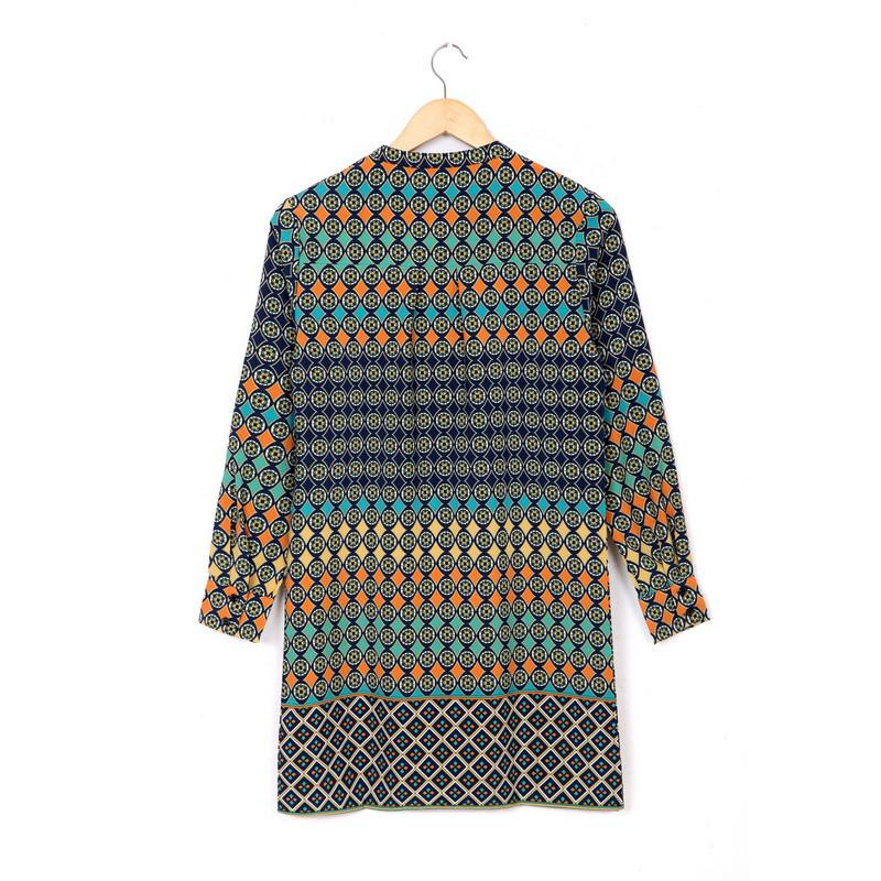 New Fashion women Geometric totem print chiffon Dress sexy vintage V neck long sleeve dress casual loose brand dress-Dress-SheSimplyShops