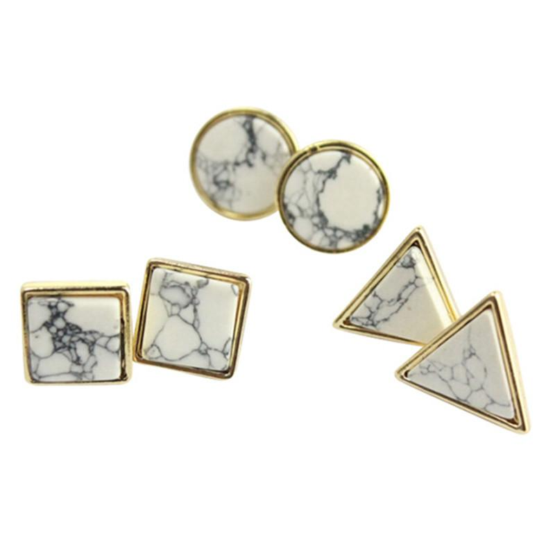 Square Triangle Round Marbled Stud Earrings-EARRINGS-SheSimplyShops
