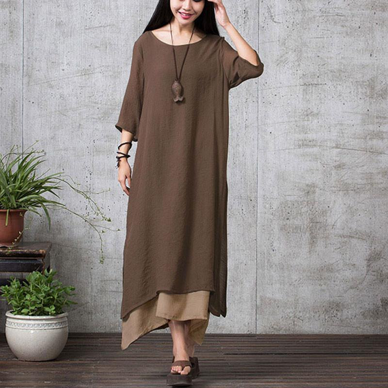 Women Casual Loose O Neck Cotton Linen Long Maxi Shirt-Dress-SheSimplyShops