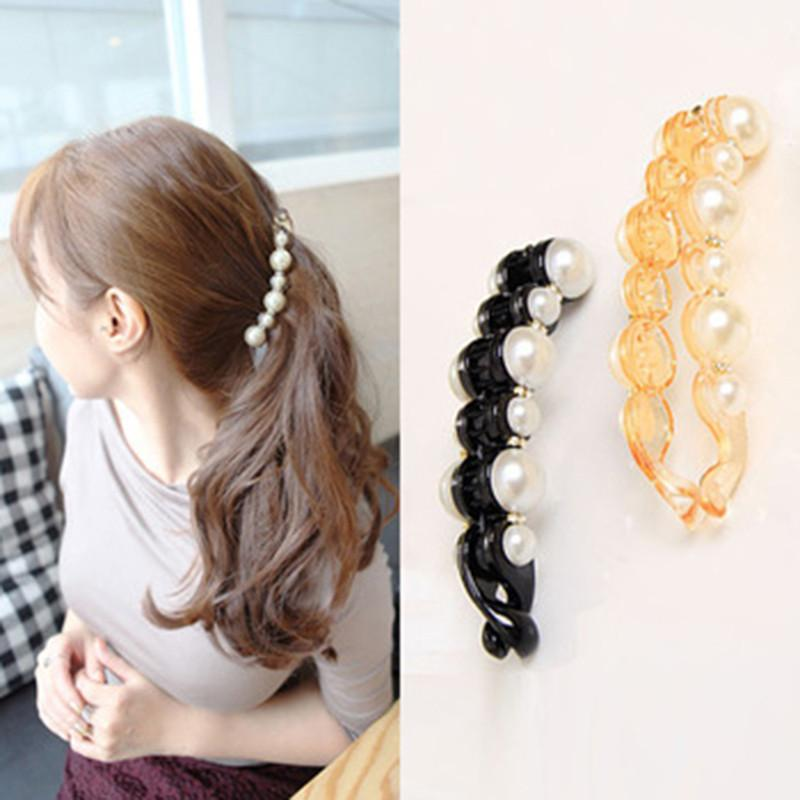 Special Design Orange & Black Beautiful Simulated Pearls Hairpins Hair Jewelry Banana Clips Headwear Hair Accessories for Women-JEWELRY-SheSimplyShops