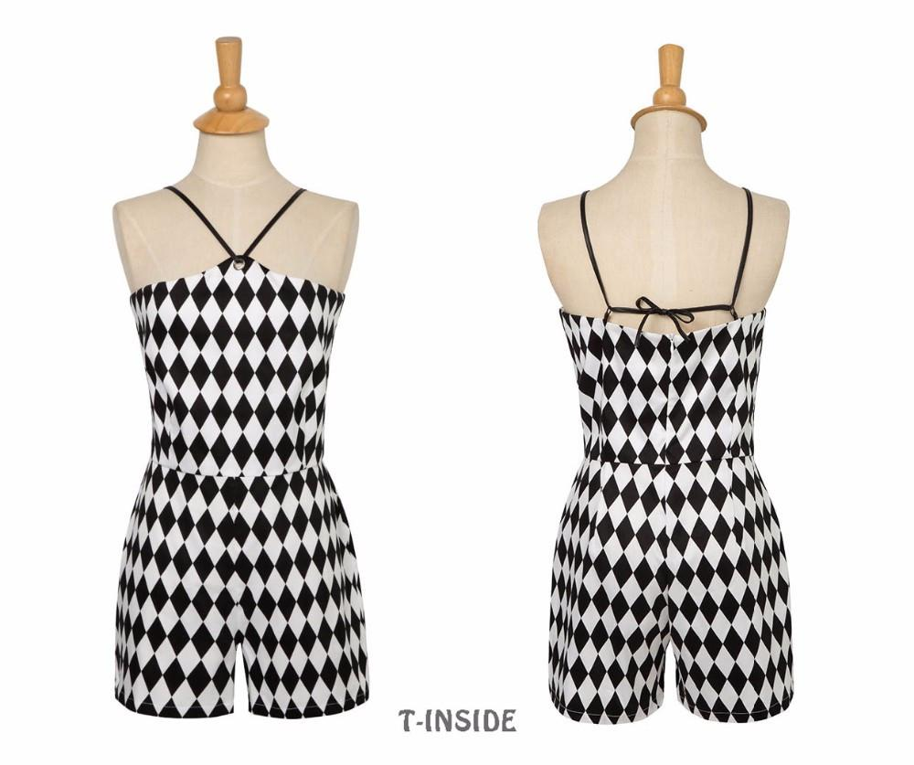 T-Inside Jumpsuit Dream Away Collection Women's Romper Rhombus Printed Sexy Halter Neck Sleeveless Casual Beach Play Suits-ROMPERS & JUMPSUITS-SheSimplyShops
