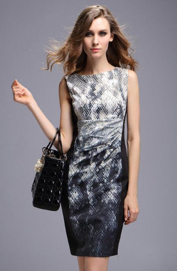 European and American ladies snake print silk tunic dress-Dress-SheSimplyShops