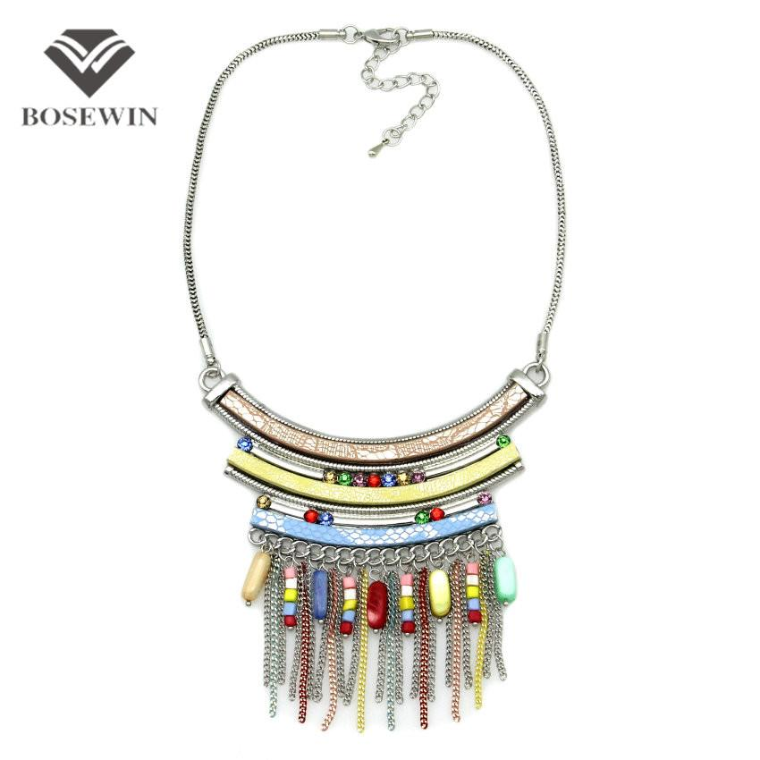 Women Bohemia Accessories Statement Necklace For Women Leather Silver Chain Acrylic Tassel Pendant Choker New Maxi Jewelry-Maxi-SheSimplyShops