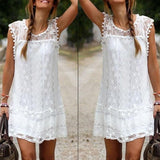 Women Casual Solid Short Sleeve Mini Dress-Dress-SheSimplyShops