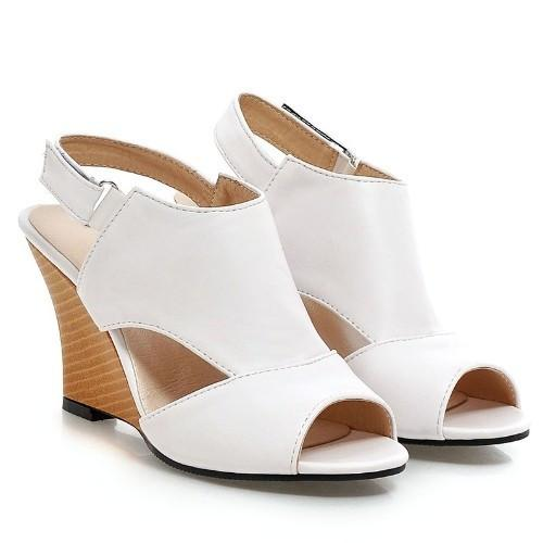 Sexy High Heel Wedges Cutout Peep Toe Sandals-SHOES-SheSimplyShops