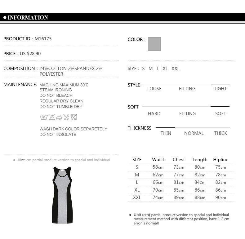 Summer Goddess Style Sleeveless Dress U- Collar Slim Thin Women Dress Grey black stitching Sexy Dress M16175-Dress-SheSimplyShops