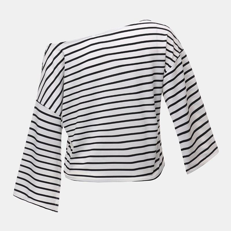 New Fashion Crop T shirt 2016 Summer Women Ladies Sexy Off Shoulder 3/4 Split Sleeve Striped Loose Tops Tee Casual Cropped-SHIRTS-SheSimplyShops