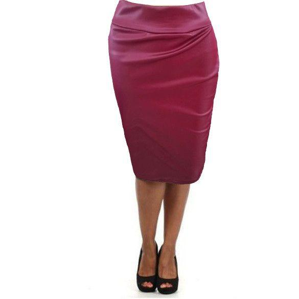 Plus size high-waist faux leather pencil skirt-Dress-SheSimplyShops