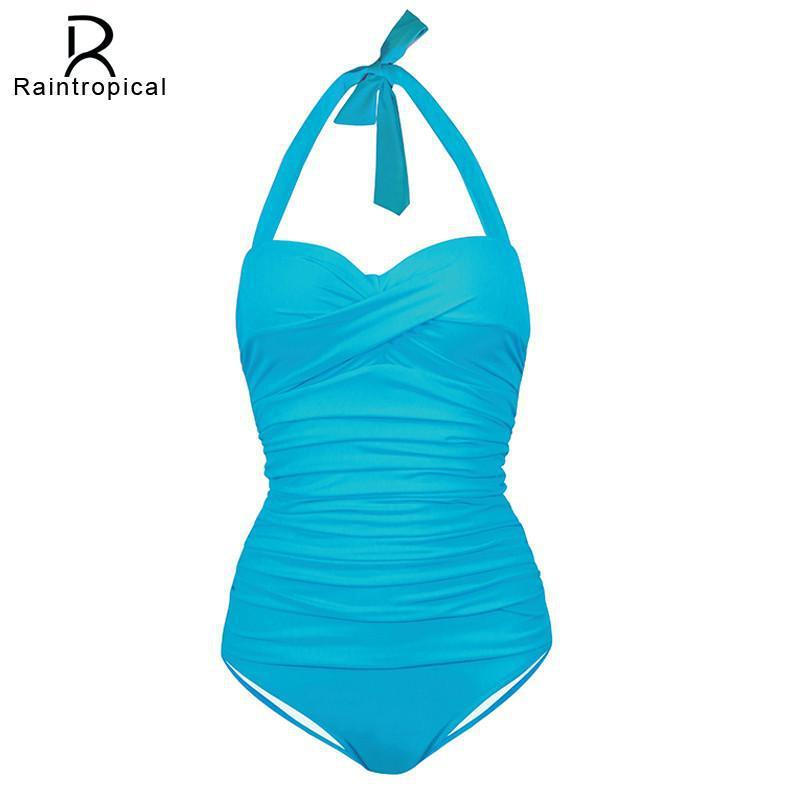One Piece Swimsuit Plus Size Swimwear Women 2016 Summer Beach Wear Halter Push Up Bathing Suit Swim Retro High Wasit Swimsuit-SWIMWEAR-SheSimplyShops