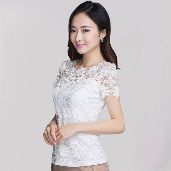 Elegant Women Lace Short Sleeve Slim Sexy Blouses Shirt Floral Oversized Tops Tee-SheSimplyShops