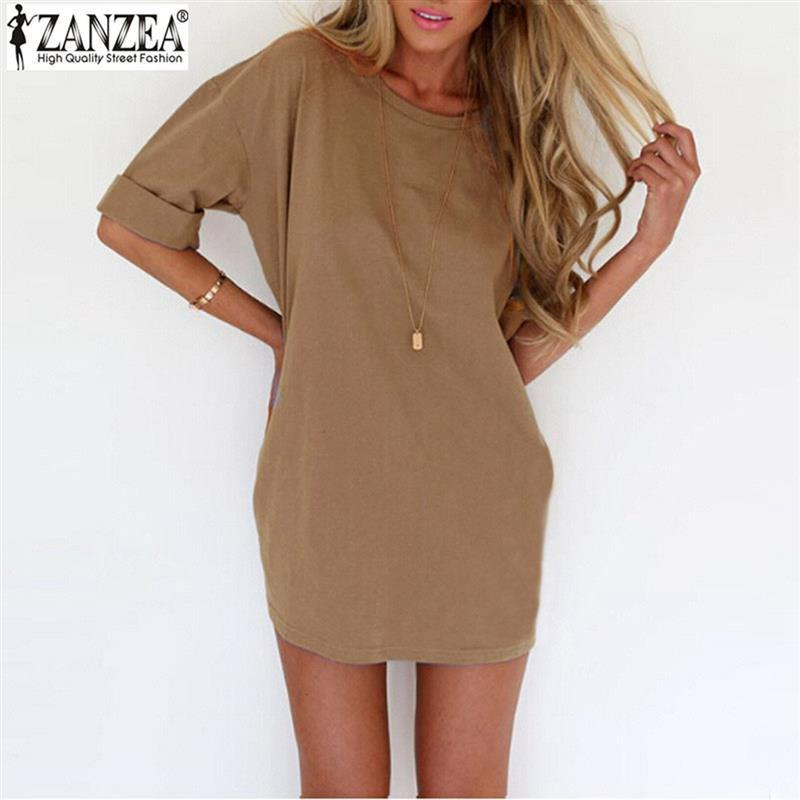Summer Style Fashion Women Casual Loose Dress Sexy Ladies Short Sleeve Solid Color Mini Dress-Dress-SheSimplyShops