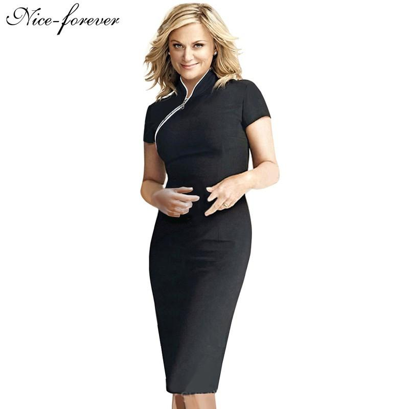 Women Formal Elegant Stand Collar Rockabilly Pinup Plus size Short Sleeve Career Zipper Pencil Vintage Midi Bodycon-Dress-SheSimplyShops