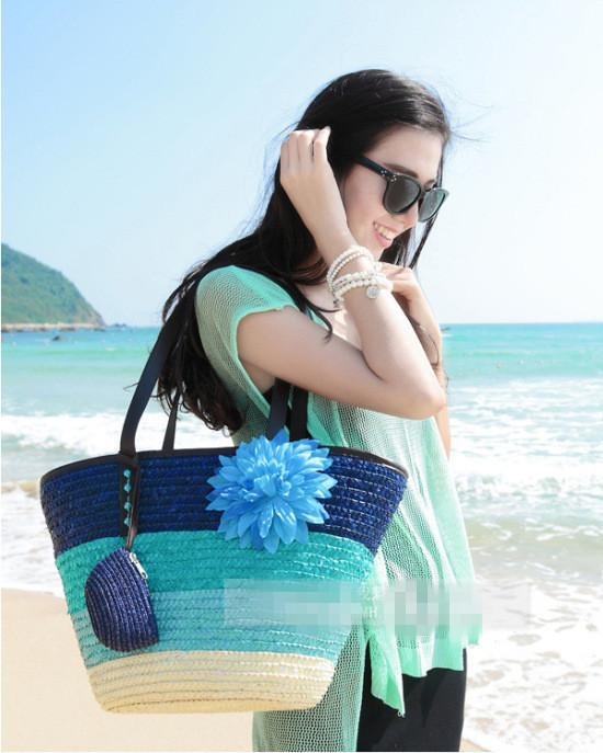 Knitted Straw Bohemian tote bag-Tops-SheSimplyShops