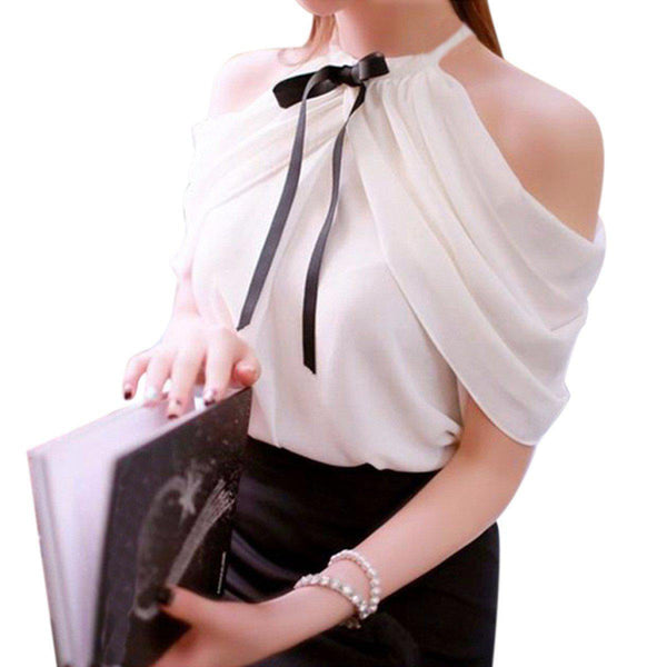 Summer Style Halter Neck Bowknot Shirts Elegant ZANZEA Women Blusas Sexy Off Shoulder Blouses Casual Slim Chiffon Tops-SheSimplyShops
