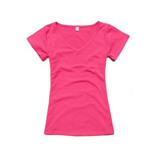 Women's V-neck Short Sleeve Women's T-Shirt Cotton Large Size 8 Colors Slim lady T-shirt plus size-SHIRTS-SheSimplyShops
