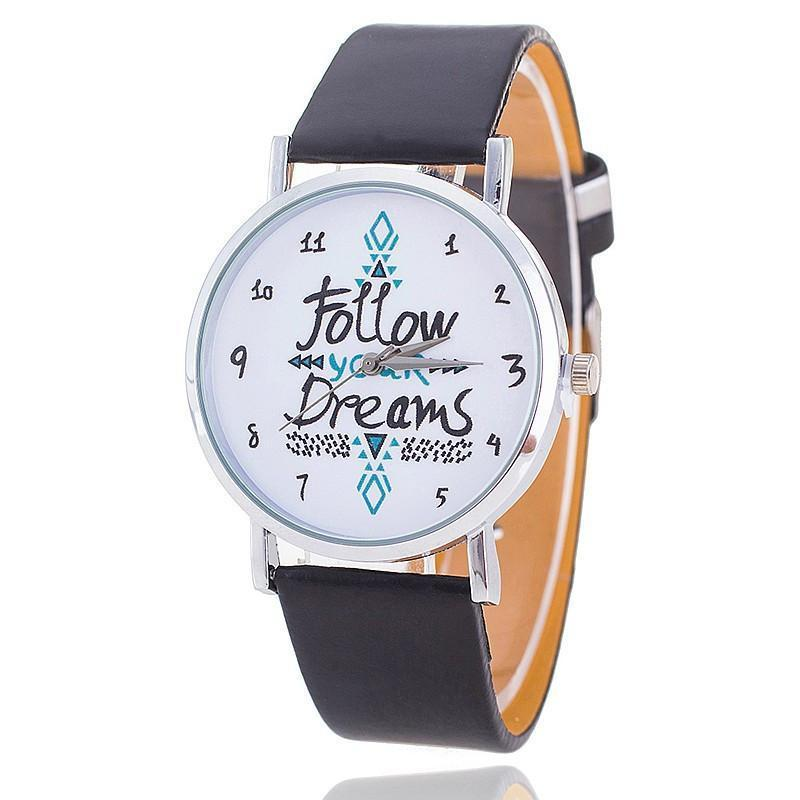 Follow Your Dreams Leather Strap Wristwatch-WATCHES-SheSimplyShops