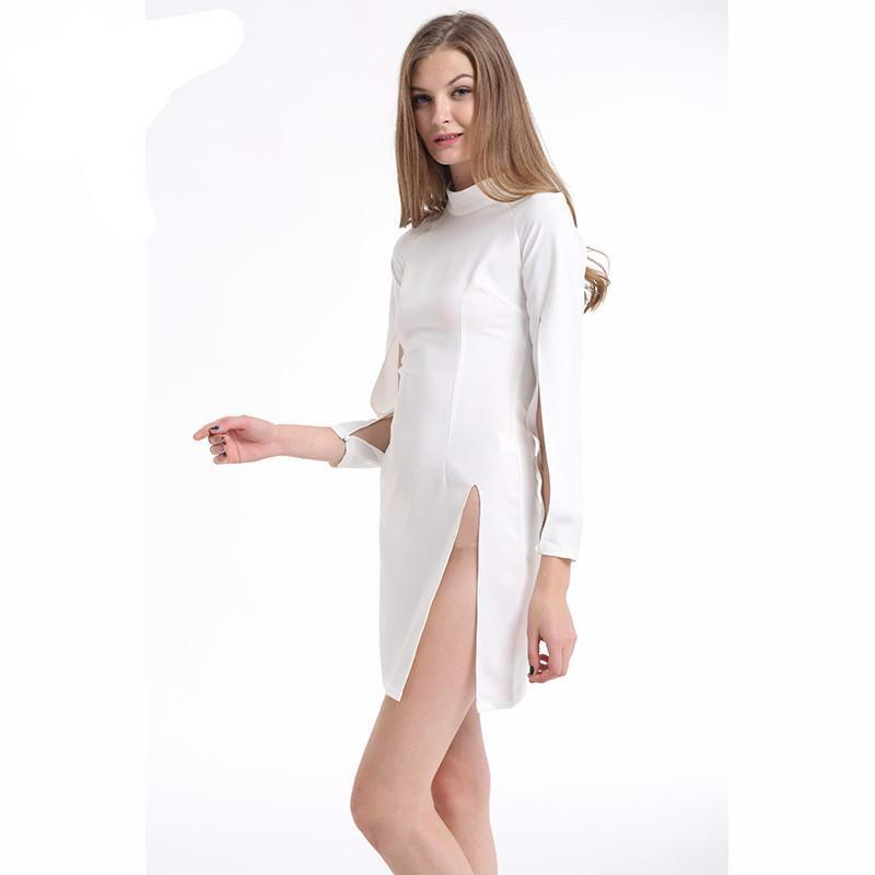 T-Inside Sexy Women Dress High O Neck Long Sleeve Solid Party Night Club High-Slit Sexy High Quality Dress Plus Size CH324-Dress-SheSimplyShops