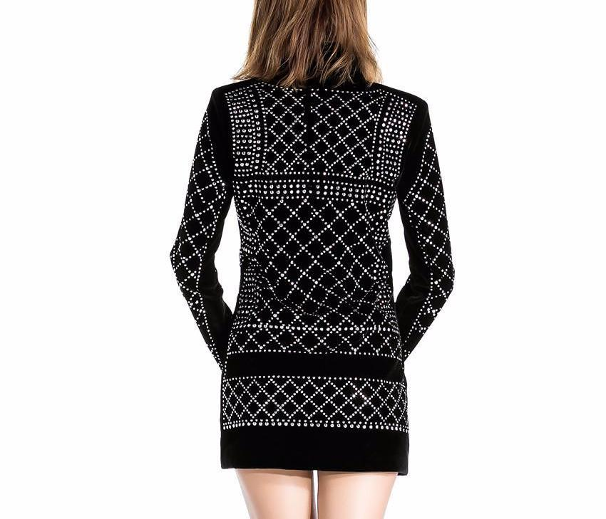 V-neck Geometric studded Blazer Dress-Dress-SheSimplyShops