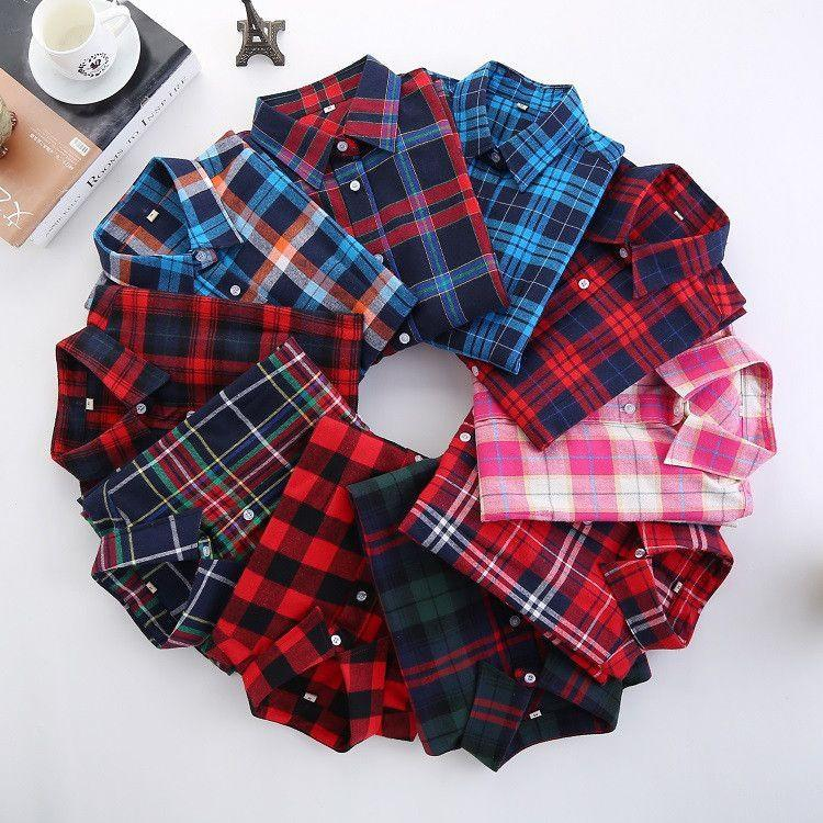 Fashion Plaid Shirt Female College style women's Blouses Long Sleeve Flannel Shirt Cotton Blusas Office tops-Blouse-SheSimplyShops