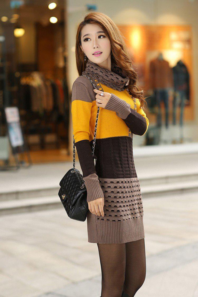 Woman Winter Dress Knitted Dress Turtleneck Long Sleeve Women Sweater Dress Sweaters and Pullovers Plus Size Women Clothing-Dress-SheSimplyShops