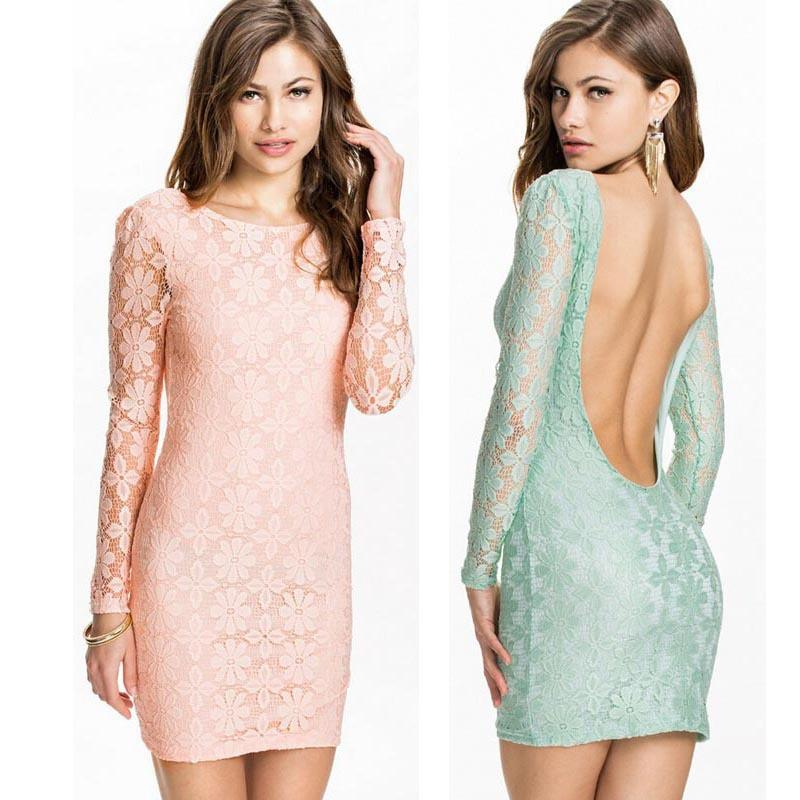 Feitong Women Sexy Slim Backless Dress Long Sleeve Slim Lace Bodycon Evening Party Pencil Elegant Mini Dress vestidos femininos-Dress-SheSimplyShops