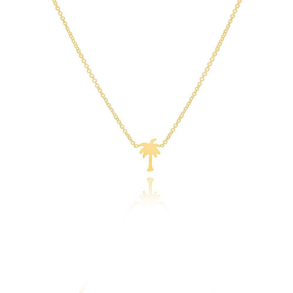 New Women Boho Jewelry Gold Silver Modern Tiny Palm Tree Charm Necklaces 304 Stainless Steel Engagement Gift-NECKLACES-SheSimplyShops