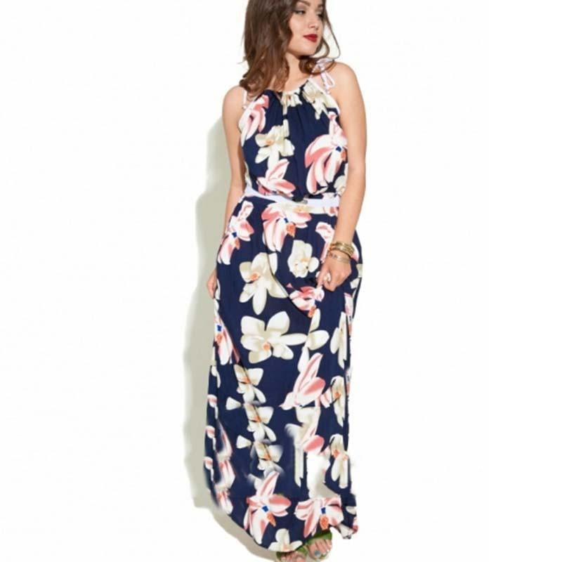 women summer beach&casual long dress plus size L-6XL print flower off the shoulder natural O-neck dress-Dress-SheSimplyShops