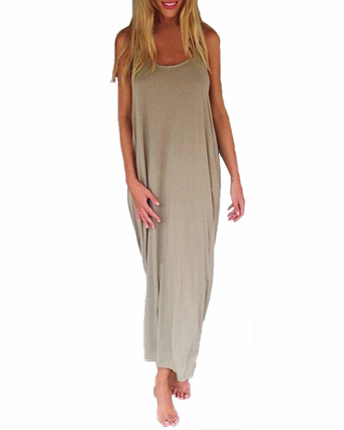 Zanzea Brand Vestidos 2016 Women Fashion Casual Loose Solid Dress Sleeveless Backless Long Maxi Beach Dresses Plus Size-Dress-SheSimplyShops