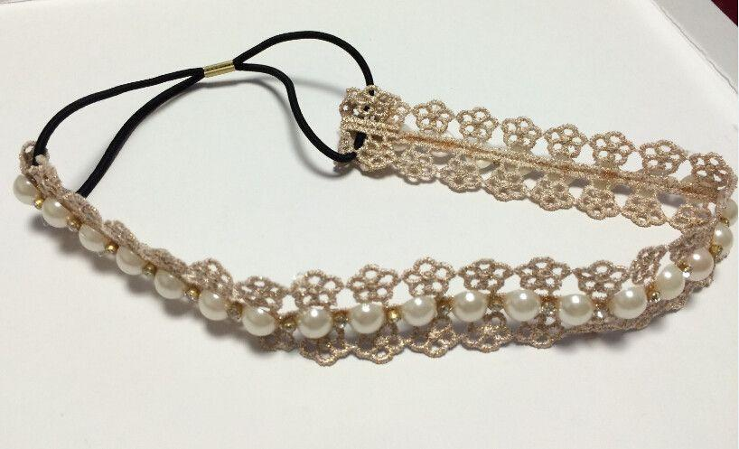 bohemian cream lace flower pearl crystal rhinestone headband hairdband hair accessories-ACCESSORIES-SheSimplyShops