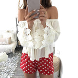 Sexy Women Casual Boho Lace Off Shoulder Shirt Summer Crop Tank Tops Blouse Shirts blusa feminina White Blouse-Tops-SheSimplyShops