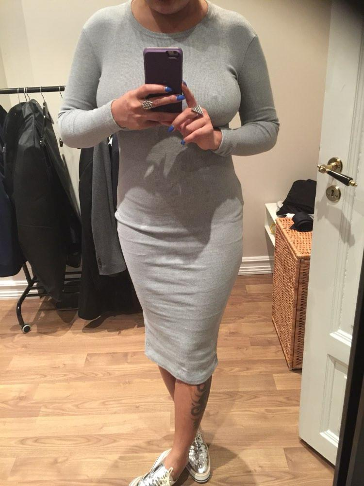 Women Elegant Grey Sweater Dresses Long Sleeve O Neck Slim Skinny Open Fork Slim Pencil Long Dress-Dress-SheSimplyShops