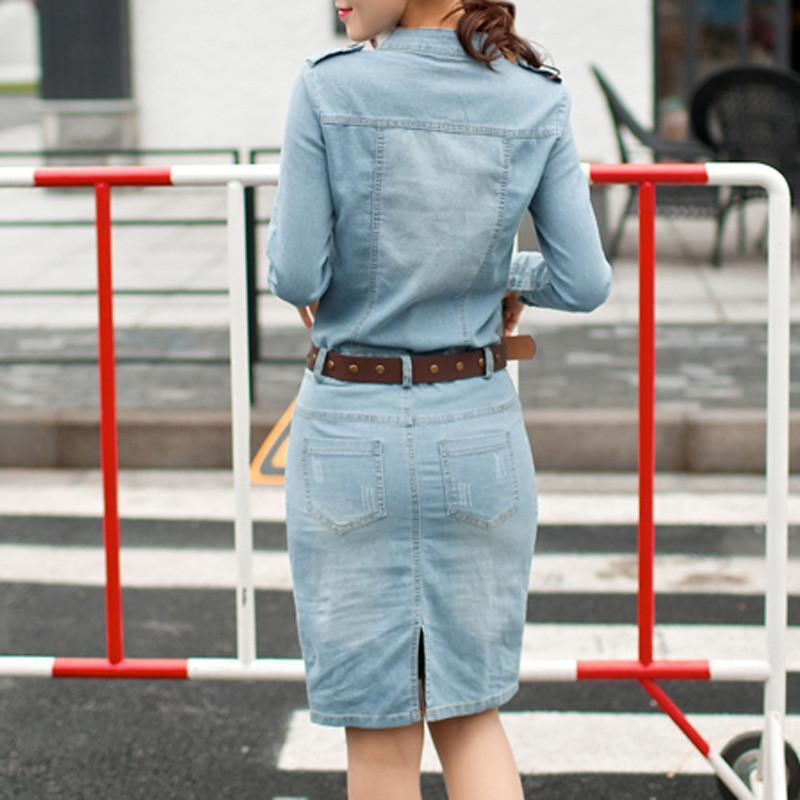 Spring Summer Straight Dresses Denim Casual Slim Full Sleeve Solid V-Neck-Dress-SheSimplyShops