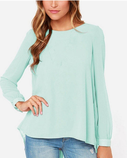 Summer Style Women Sexy Casual Loose Chiffon Tops Long Sleeve Solid Shirts Ladies-SheSimplyShops
