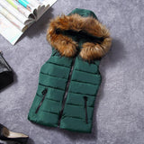 New for winter fur collar vest down Joker cotton hooded vest women's vest-SheSimplyShops