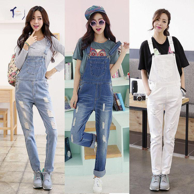 New Korean New Women Jumpsuit Denim Overalls Casual Skinny Girls Pants Jeans-ROMPERS & JUMPSUITS-SheSimplyShops