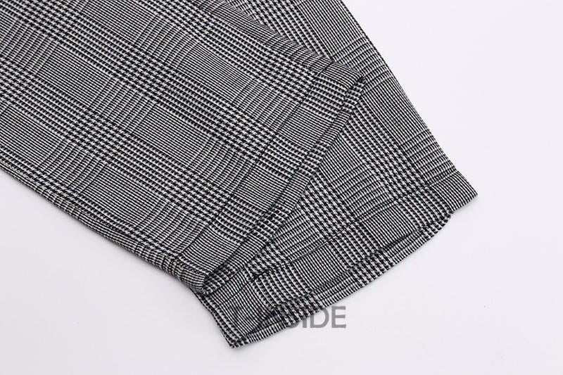 T-INSIDE Women's Pants Black White Plaid Pattern Fitted High Quality Wear to Work Fashion Women Pencil Pants Brand New-PANTS-SheSimplyShops