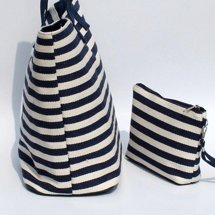 Large Striped Shoulder Bag-BAGS-SheSimplyShops