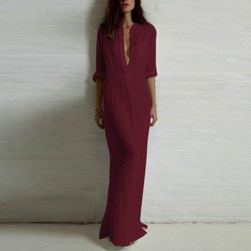 Casual Long Sleeve V Neck Maxi Dress-Dress-SheSimplyShops